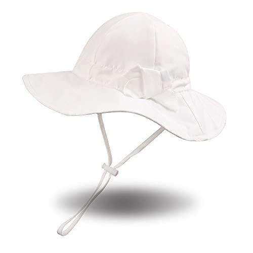 Pesawat - Sombreros de Playa para bebés y niños pequeños con Lazo, Sombrero de Verano para bebés, protección Solar, Gorra de Playa de ala Ancha para niñas, niños de 0 a 12 años(Blanco,2-4 años)