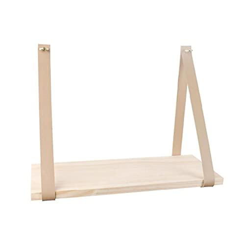 Mcbeitrty Soporte de almacenamiento flotante de madera de pared estante colgante correa de cuero Swing Decor correa de cuero Swing organizador