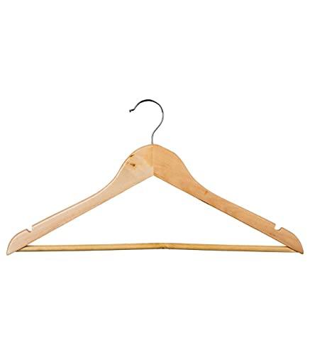 8 grucce in legno naturale, antiscivolo, per cappotti, camicie, abiti, pantaloni, gonne, pressing, spessore 1,3 cm (legno naturale, 43 cm)