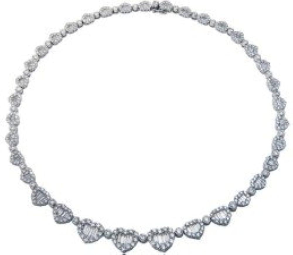 Set di gioielli a forma di cuore rotondo e baguette, in oro bianco 18 carati XYN0393