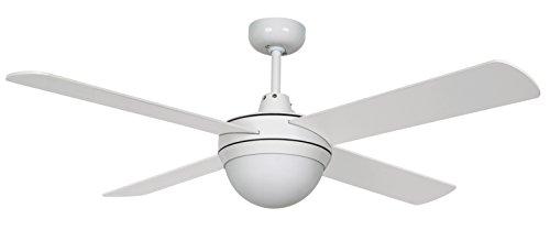 Design-plafondventilator Lucci Air Futura Eco, 122 cm, wit, drie snelheden, met lamp en afstandsbediening, wit