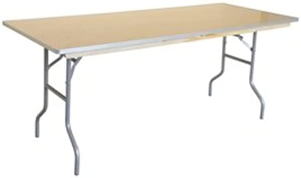 4 Foot 48 Inch Length Heavy Duty Rectangle Solid Birch Wood Folding Banquet Table With 30 Inch Height And And Width Aluminum Edge For Weddings Parties Events And Classrooms 2