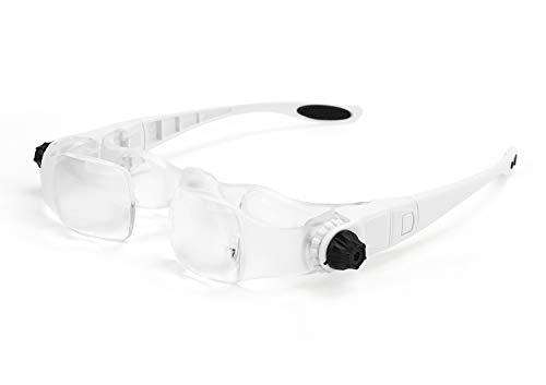 Lupenbrille Kopflupe Alterssichtigkeit Hyperopie 1.5 fach-3.8 fach Lupe Lesehilfe Brillenlupe für Brillenträger, Fernsehen Film sehen, Lesen, Handwerk, Juweliere, Nähen, und Reparatur