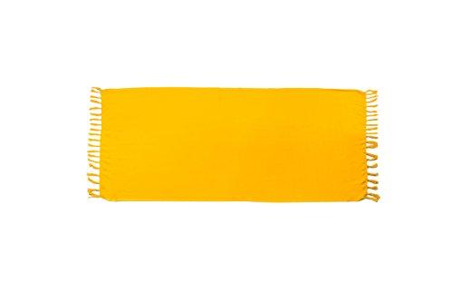 MANUMAR Damen Sarong blickdicht als Mini-Rock (155x55cm) | Kinder Pareo Strandtuch | Leichtes Wickeltuch in gelb mit Fransen für Kinder | einfarbig/unifarben | Sauna-Handtuch | Haman-Tuch | Bali