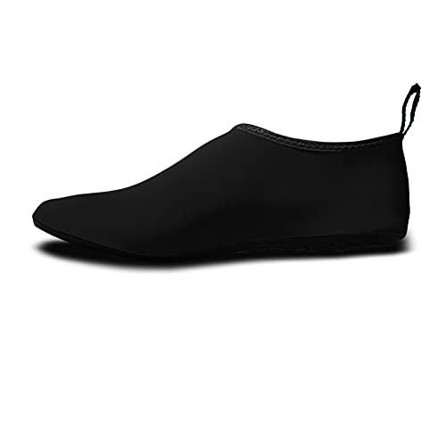 QAOSHOP Kids Beach Water Shoes Beach Shoe, Non-Slip Quick Dry Swim Barefoot Aqua Pool Socks Shoes for Women and Men,Black,S