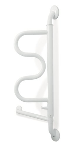 Stander Curve Grab Bar with Handrail, 14-Inch Bathroom Safety Handle for Elderly, Bathtub and Shower Assistance for Seniors
