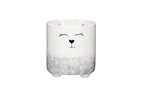 KitchenCraft Small Indoor Plant Pot, Decorative Little Bear Design, Ceramic, Grey / White, 10 x 11.5 cm