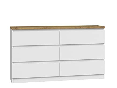 ADGO Malwa M6-140 - Cómoda moderna con 6 cajones (138 x 40 x 77 cm), color blanco y roble