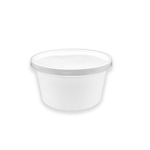 TELEVASO - 50 uds - Envase Recipiente Redondo para Comida + Tapa separada - Capacidad 450 ml y tamaño Ø120 mm - Polipropileno (PP) Blanco - Contenedores Desechables Apto para microondas