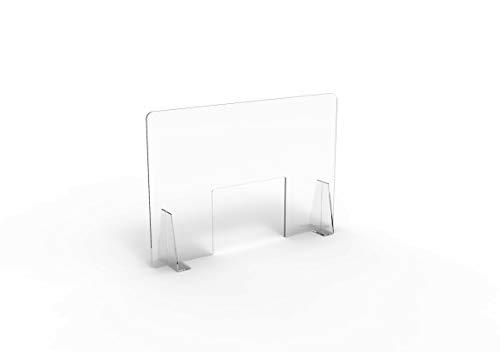 Pannello Protettivo Parasputi/Parafiato da Banco in Plexiglas Trasparente misura 100x67 cm (LARGE)