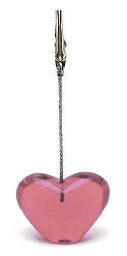 ハートクリップ カードスタンド ハート シンプル 机上 デスク アクセント 店舗用品 アクリル製 ギフト ピンク TFC-3003 スリップオン