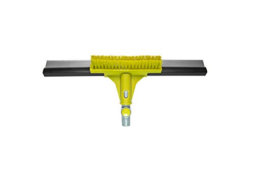 """DocaPole 18"""" Floor Squeegee with Floor Scrubbing Brush for Cleaning   Rubber Squeegee and Grout Brush for Garage   Perfect for Epoxy Floor, Linoleum, Marble, Travertine Floors"""