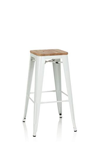 hjh OFFICE 645044 Barhocker VANTAGGIO HIGH W Metall/Holz Weiß Hocker hoch im Industry-Design mit Holz-Sitzfläche, stapelbar