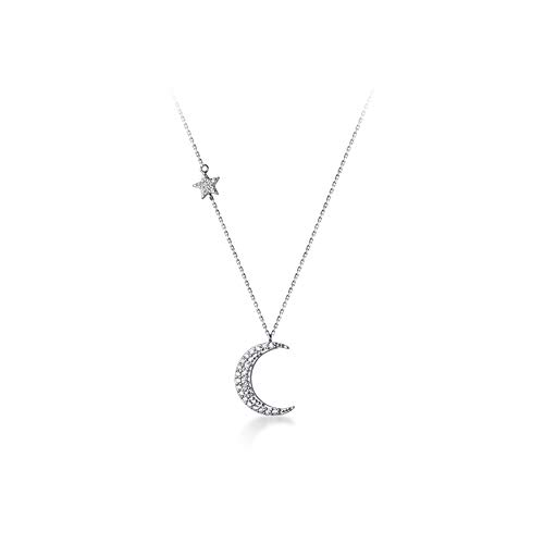 Crystal Crescent Moon Pendant Necklace Sterling Silver S925 Dainty Cubic Zirconia Diamond Star Charm Adjustable Chain Necklaces Chokers Delicate Jewelry Gifts for Women Girls BFF