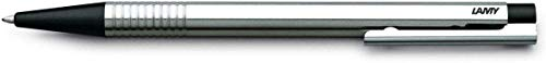 LAMY logo Kugelschreiber 205 – Kuli aus rostfreiem Edelstahl in der Farbe Schwarz mit integrierter Clip-Drücker-Einheit – Mit Großraummine – Strichbreite M