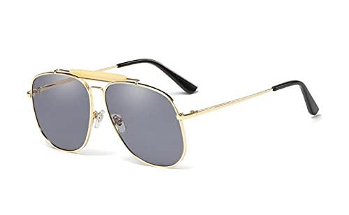 ShZyywrl Gafas De Sol De Moda Unisex Gafas De Sol De Gran Tamaño A La Moda para Hombre Y Mujer, Gafas De Sol con Lente De Melocotón Teñidas De Metal, Gafas De