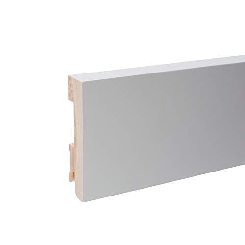 Vierkant Massivholz Sockelleiste I Echtholz Fußleiste - Weiß lackiert RAL 9010 Höhe 80mm