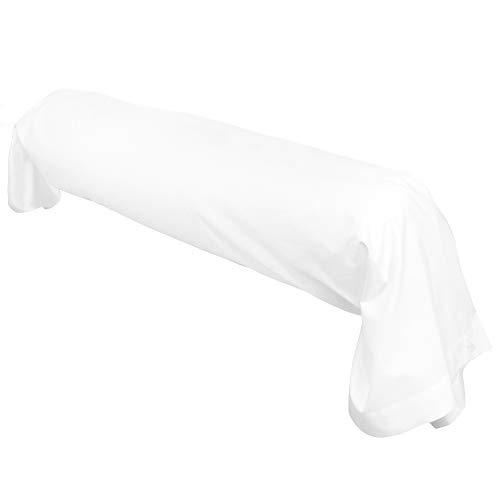 Linnea Taie de traversin uni 140x43 cm 100% Coton Alto Blanc