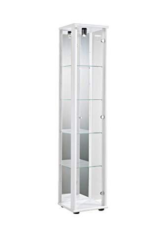 K-Möbel Glasvitrine in Weiss (176x37x33 cm) mit 4 höhenverstellbaren Glasböden aus ESG, mit Spiegel; beleuchet; perfekt für Sammler;