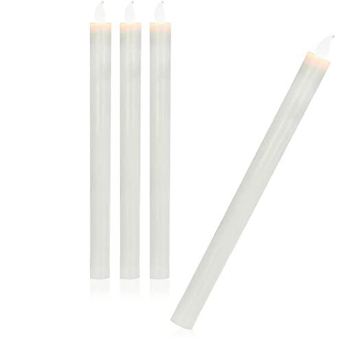 com-four 4X LED Candela 29 cm - Candele Natalizie Senza Fili, a Batteria - Illuminazione Natalizia - Candele elettriche candelabri (Bianco - 29 cm)