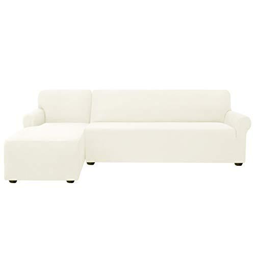 subrtex Sofabezug L Form Stretch Sofahusse Ecksofa Elastisch Antirutsch Eckcouch überwurf Weich Stoff Abwaschbar (Links 2 Sitzer, Creme)