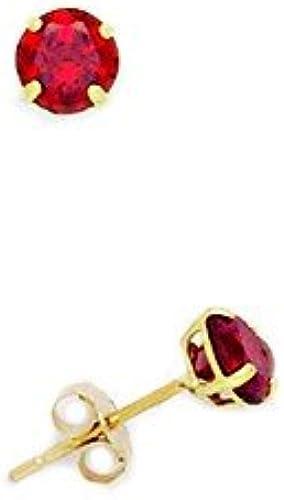 , GelbGold (14 Karat) Cubic Zirkonia, mit Geburtsstein für Januar, rot4mm-Korb rund JewelryWeb Ohrringe-Set -