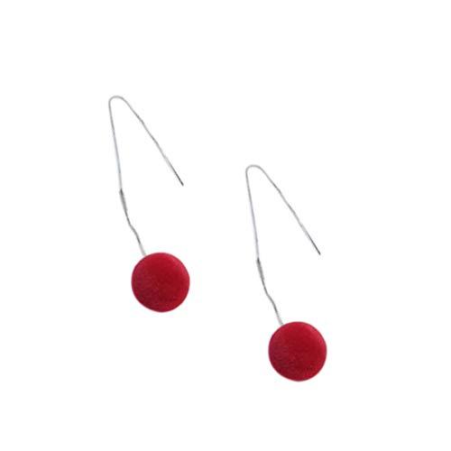 Boburyl 1 par Pompon Bola de joyería Pendientes Mujeres Pendientes Muchacha Mullido Colgante de la Bola de Navidad Regalo de Año Nuevo
