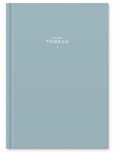 Liebes Tagebuch, großes Notizbuch und Tagebuch für Erwachsene, Mädchen und Jungen, liniert, 120 Seiten, 80 g Recyclingpapier weiß, Hardcover 18x24,5cm mit Linien, Blau, Rosa, Rose, Weiß