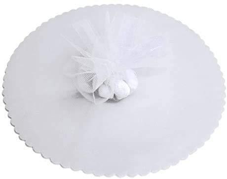 BARATTI 100 Pz. Velo VELI di Fata Bianco Tulle Organza Tondo VELETTI BOMBONIERE Fai da Te Confetti