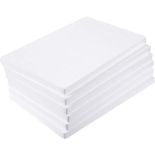 Bloques Rectangulares de Espuma de Poliestireno para Manualidades, Blanco, Paquete de 6, 43,2cm x 28 cm x 2,5 cm