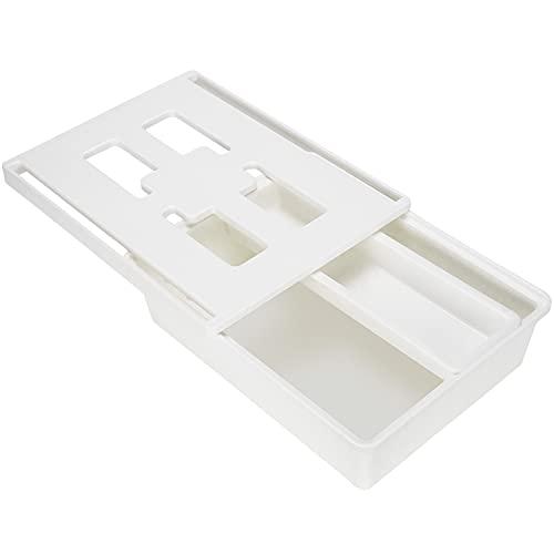 Graplan Organizador de cajón de almacenamiento debajo del escritorio, bandeja oculta, cajón de almacenamiento autoadhesivo para el hogar, escuela, oficina almacenamiento (blanco)