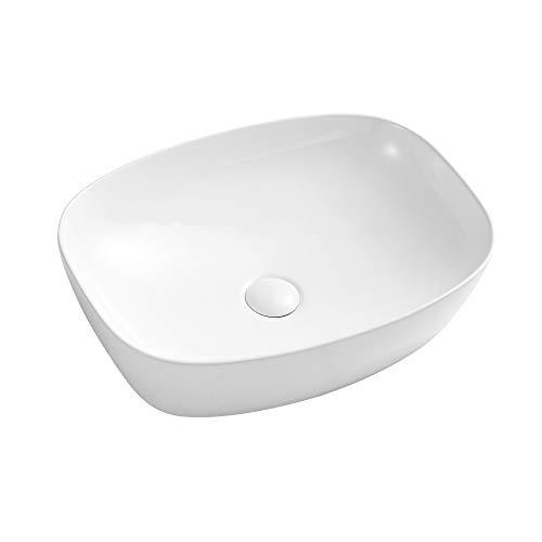 Eridanus Aufsatzwaschbecken mit Weißem Ablaufgarnitur aus Keramik, Waschbecken aus hochwertiger Sanitär-Keramik, Aufsatz-Waschschale Waschtisch Oval, 50 x 37.5 x 13.5 cm