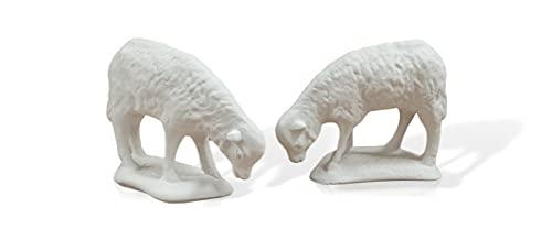 2 corderos. Animales para el Nacimiento Portal de Belén. Navidad. Todo Tipo de Animales por Parejas o Individuales. Material de Esacayola (Cordero)