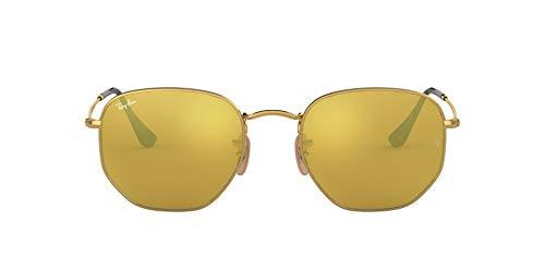 Ray-Ban Unisex Hexagonal Sonnenbrille, Gold (Gestell: Gold,Gläser: Gold 001/93), Medium (Herstellergröße: 51)