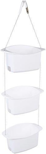 AmazonBasics - Estante de ducha ajustable, 3 cestos, Blanco