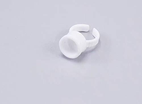 ZheJia Porte-colle pour cils Supports pour pigments Outil de beauté Supports pour vernis à ongles Tatouage Individuel Extension de faux cils Adhésif 100PCS Anneau de colle en plastique jetable M