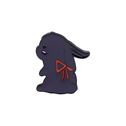 Broches de solapa esmaltados, 2 conejos blancos negros con borla, bolsa de tela, insignia de los fans de la joyería regalos