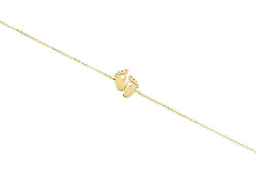 Pies de bebé pequeños, Pulsera de oro amarillo de 9K 14K 18K, Bebé recién nacido, Oro macizo, Huella con corazón, Regalo de mamá nueva, Joyería de bebé para mamá/code: 0.002