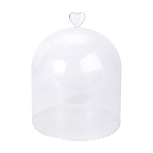 Cabilock Klart glas cloche kupol dammtät kakskal kupol dammtätt livsmedelsskyddskåpa dessert pizza cloche mikrolandskap kupol för kök matsal (hjärta)