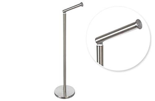 Tienda Eurasia® Portarrollos de pie 2 en 1 para baño, Porta Rollos Papel Higienico, Acero Inoxidable Brillante, 17 X 21 X 55 cm