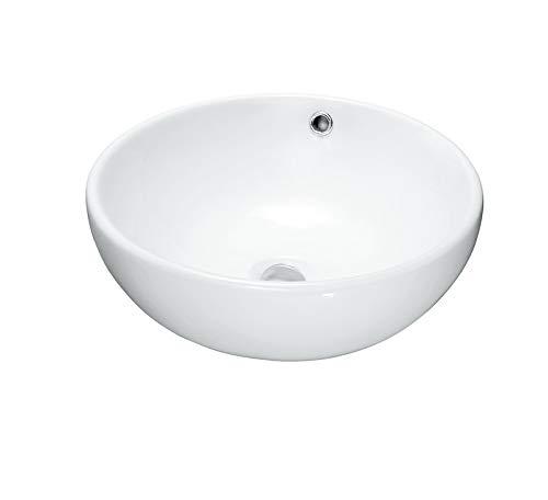 Waschbecken Design Aufsatzwaschbecken Waschschale Hochglanz rund mit Überlauf 40 x 40 cm weiß, (Bol with overflow) von Art-of-Baan®