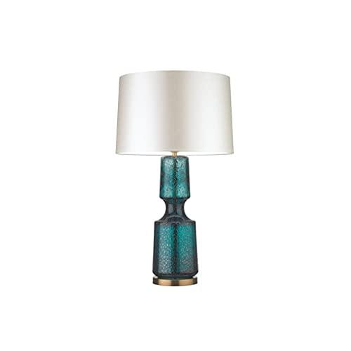 Lámpara de mesita de Noche Simple, Tela Retro Vidrio LED de protección de Ojos Noche Botón de la lámpara de la Noche, para el Estudio de la Familia Dormitorio Escritorio para niños