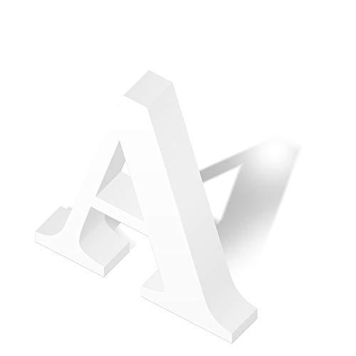 Letras Decorativas de Corcho para Boda, Fiesta y Evento, Altura 40 cm y Espesor 10 cm, Tipografías Elegantes y Originales, Color Blanco (A, 40 cm)