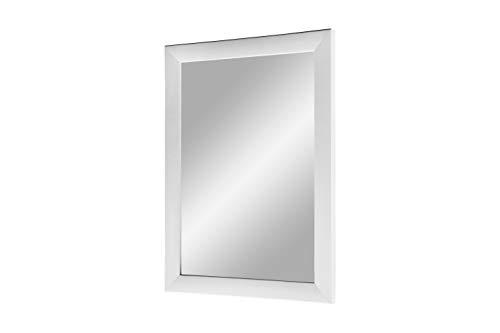 Flex 35 - Wandspiegel 80x110 cm mit Rahmen (Weiss matt), Spiegel nach Maß mit 35 mm breiter MDF-Holzleiste - Maßgefertigter Spiegelrahmen inkl. Spiegel und stabiler Rückwand mit Aufhängern