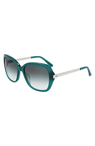 Calvin Klein Gafas de sol cuadradas CK21704S, color verde lechoso, 56