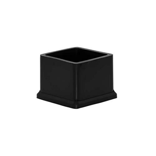 Flyshop, 8 tappi per gambe della sedia, in silicone, antigraffio, quadrati, per gambe da tavolo, sedie, 30 x 30 mm, colore: nero