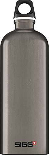 SIGG Aluminum Traveller Water Bottle (1.0 L), Smoked Pearl, Lightweight Reusable Water Bottles, Easy-Carry Leak Proof Water Bottle, Travel Bottles for On The Go, BPA-Free