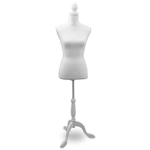 BITUXX Damenbüste Schneiderpuppe Schaufensterpuppe Torso Angezogen Mannequin Büste (Weiß)