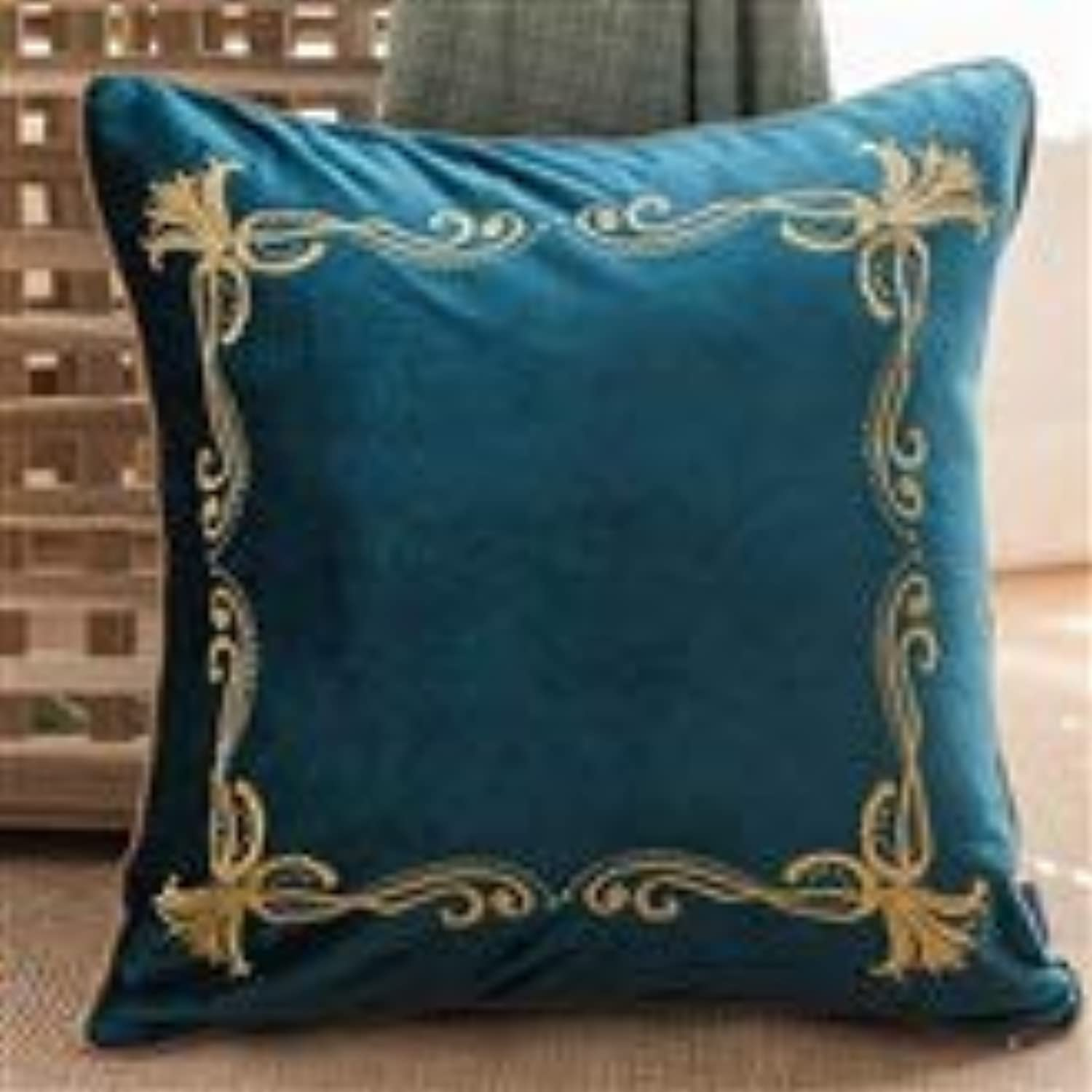 QYSZYG Pillow Thai Style Embroidery Pillow Sofa Cushion Soft and Comfortable Backrest Removable and Washable Pillow (color   B, Size   45cm45cm)