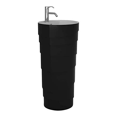 Rockview Collection Pedestal, Elegant Cone Shaped Pedestal Sink, Vanity -Black Matte, Centerset Faucet Hole
